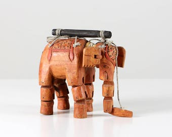 Vintage elephant puppet, wooden elephant marionette, wooden puppet, puppet theater