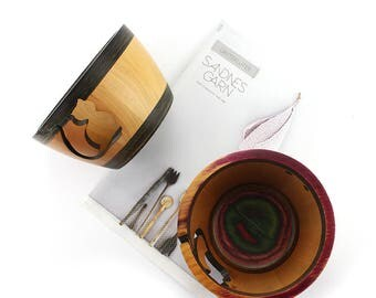 knitting crochet wood yarn bowl