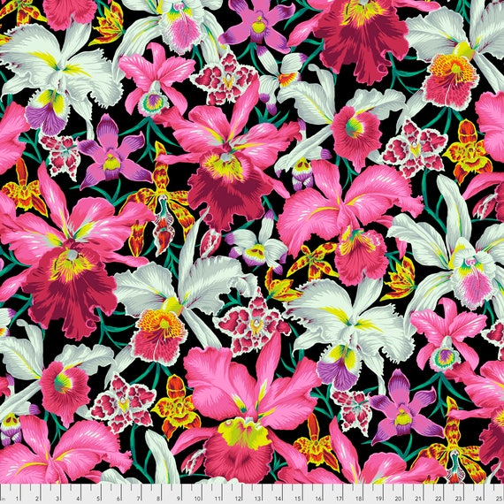 Pre-Order ORCHIDS Black Philip Jacobs PWPJ092.BLACK  Kaffe Fassett Collective Sold in 1/2 yd increments Pre-Order Item