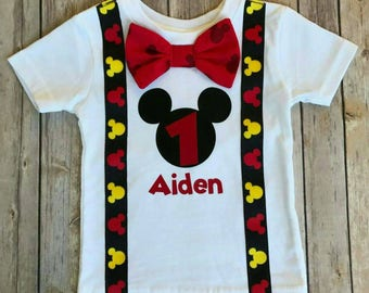 Boys Mickey Mouse Birthday Shirt, Mickey Mouse Party Hat, boys 1st Birthday, Boys Second Birthday, Birthday shirt