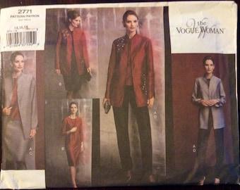 Sewing Pattern Vogue 2771 - Misses Petite Jacket, Top, Dress, Skirt and Pants - Size 14, 16, 18 - UNCUT