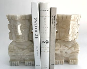 Heavy Marble Aztec Motif Bookends Sculpture