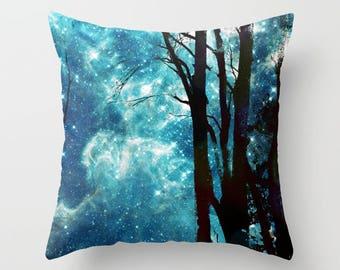Night Sky Throw Pillow, stars, nebula, trees,  deep blue,  modern, milky way, pillows, cushions, throw pillow