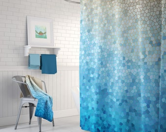 Blue and Gold Shower Curtain Set - Sunny Day Mosaic -  happy, colorful shower curtain, blue, yellow, beautiful detail, extra long