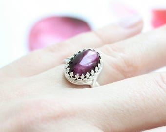 Cocktail Sterling Silver Ring with  Burgundy Dark Tiger Eye Gemstone