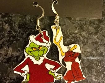 GRINCH and MAX Earrings Open back or closed