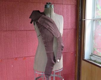 "SALE Vintage 1920s 1930s Burson NOS brown stockings hosiery hose ribbed Flapper original label unused 28 1/4"" long (4717)"