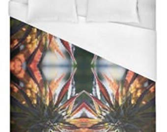 Leaf Duvet Cover, Bohemian Duvet Cover Blue Mountain Lion Cannabis Print,Duvet Cover Floral, Leaf Bedding,Hippy Decor, Duvet Cover King