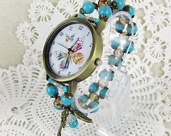 Retro wristwatch quartz watch bracelet Womens watch stretch Turquoise Turquoise beads, Crystal beads