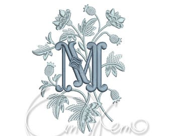 MACHINE EMBROIDERY DESIGN - Monogram letter M