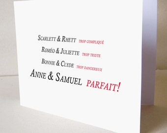 Customizable wedding or engagement greeting card