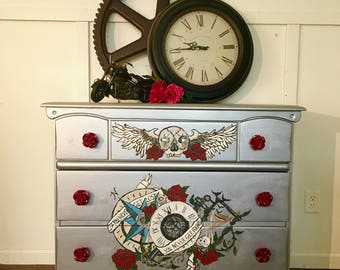 Hand Painted Tattoo inspired dresser