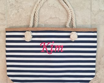 Personalized Rope Handle Tote,  Beach Bags, Canvas Striped Tote Monogramed, Bridesmaids Gifts, Pool Tote, Wedding Party Gift, Nautical Tote