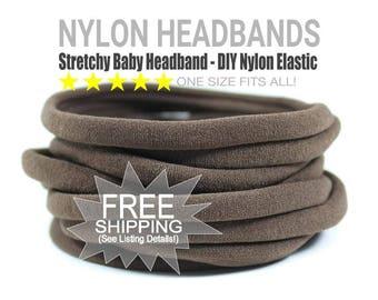 WHOLESALE Nylon Spandex Baby Headband, BROWN Newborn Skinny Very Stretchy One Size Fits most, Baby Girl Headband