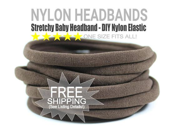 WHOLESALE Nylon Spandex Baby Headband, BROWN Newborn Skinny Very Stretchy One Size Fits most, Baby Girl Headband