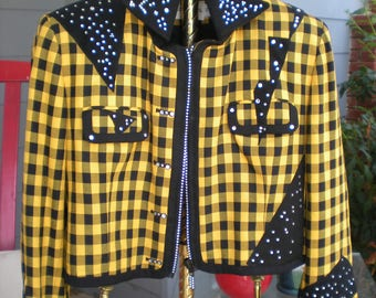 80's Glammed UP Bolero Jacket Size 14 JH Collectibles Yellow & Black Bedazzled Geometric Shapes Funky Punk Rock Lighting Bolt Cropped Jacket