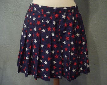 Vintage Pleated Tennis Skirt Size 14 Red White Blue Stars by Natty