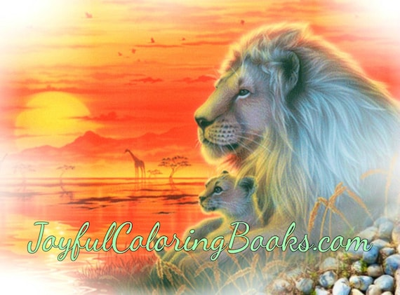 5 Lion and Cub Animal Printable Posters - 4 Colored, 1 Grayscale Coloring Page