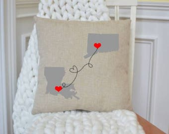 Long Distance pillow, home state pillow, personalized pillow, state pillow