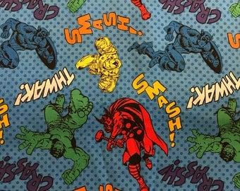 Marvel Avengers Cotton Fabric, Blue fabric