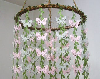Baby Mobile Hanging,Butterfly Mobile,Girl,Boy,Nursery decor,Crib Mobile,Woodland,Kit,Bridal Baby Shower Gift,Wedding Chandelier,Pink,Gray