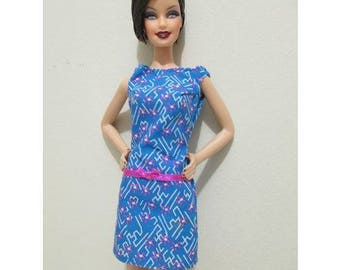 Barbie Doll Clothing Vintage blue and white fuscia pink flowers dress