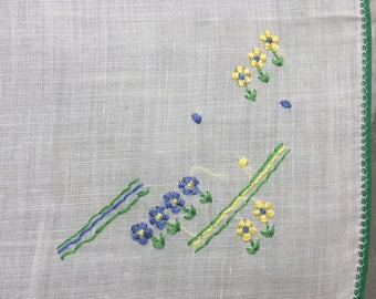 SALE Handkerchief Embroidered Blue Yellow Blossoms  Perfect for a Bridesmaid o