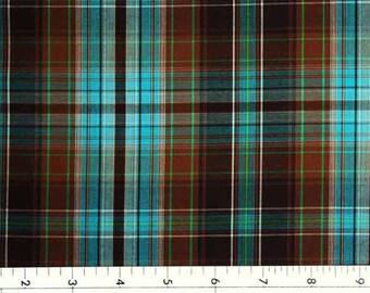 Turquoise & Brown Plaid Fabric Light Weight Cotton Yarn Dye