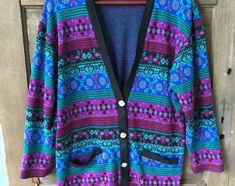 Vintage 80's Women's Knit Floral Patchwork Semi Crop Top Cardigan Sweater by Kitty Hawk for Vivian Wang