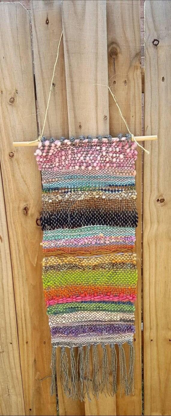 Saori Inspired Wall Hanging. Rigid heddle loom. FREE Ship