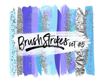 Modern Clipart Brush Strokes / Silver Clip Art / Watercolor Brush Strokes Clip Art / Brushstrokes PNG / Shimmering Glitter Confetti Clipart