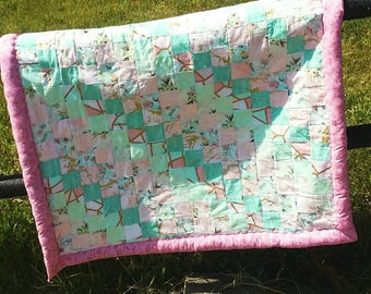 Pink and Mint Baby Quilt With Stuffed Edges