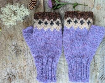 Icelandic Fingerless Mittens / Gloves Hand Knit in lilac, straw, blacksheep and hazel heather/ Lett Lopi