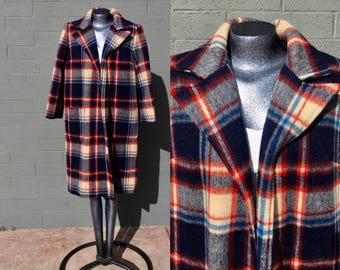 Vintage Medium Long Car Coat Plaid Wool Large 1970s  3/4 Length red blue cream size