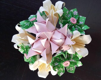 Pink and Green Origami Flower Arrangement - Paper Flowers - Centerpiece - Origami - Party Decoration - Flowers in a Vase - Unique Gift