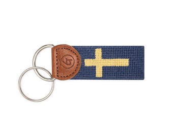 Cross Key Chain / Needlepoint Key Fob / Needlepoint KeyChain / Needlepoint Key Chain / Cross Keychain / Gifts for Christians / Needlepoint