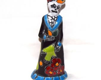 Mexican Talevera Katrina-Day of the Dead - Black