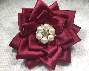 Wine Satin Accessories-Roses: Brooch, Hairclip,Shoe Clip; Wedding, Special Occasion