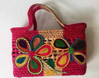 Vintage Bright Colored Straw Basket Purse