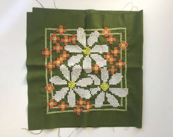 Vintage Floral Cross Stitch For Pillow Hippie Flower Power