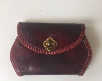 Vintage Hand Tooled Leather Clutch Purse Red 1950s
