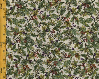 SALE -  Floral Fabric - Purple and Orange Small Berry Branches