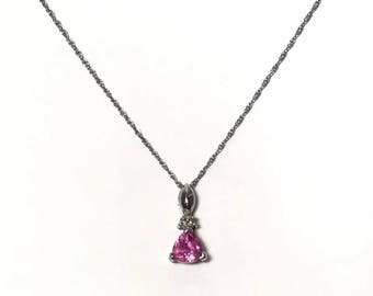 10K Pink Tourmaline And Diamond Necklace Pendant Leer Gem LGL