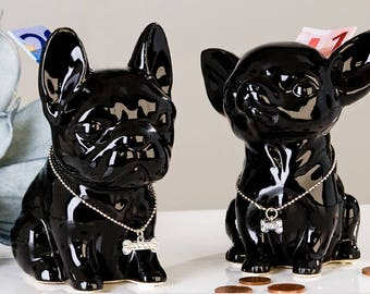 "Moneybox FRENCH BULLDOG ""Comics"" model black, height 4.7 inches"