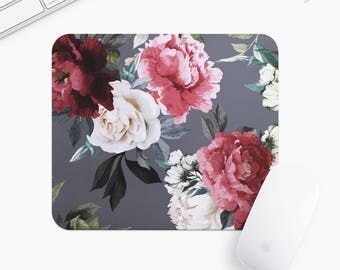 Floral Mouse Pad, Flower Mousepad, Rectangle or Round Circular, Gift mp0023