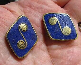 2 Napalese Handmade Brass Beads with Lapis Inlay