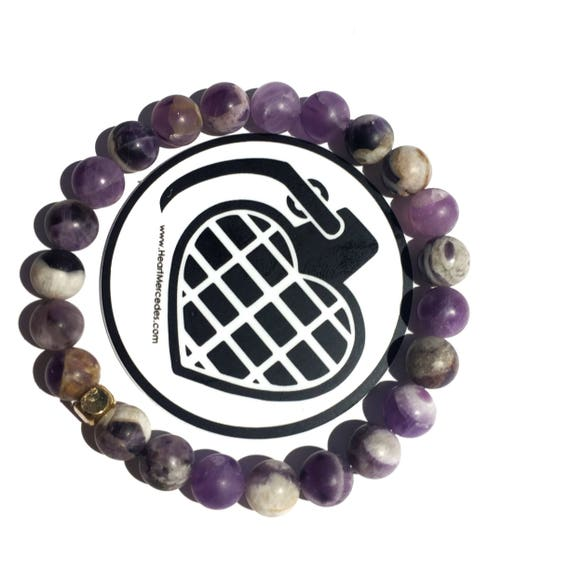 SPECIAL EDITION Clarity Amethyst beaded  Bracelet 8mm, gemstone, mala, marble, Meditation, Yoga, unisex, men