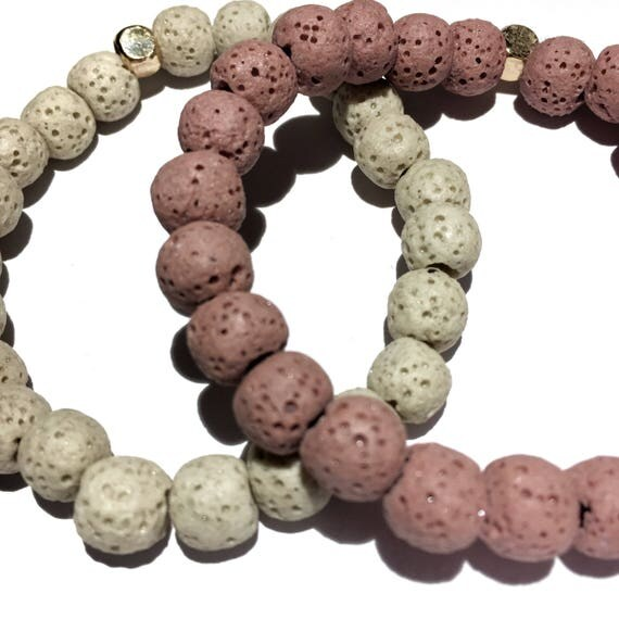 Natural Off White & Rosey Pink Raw Lava Stone Oil Diffuser Beaded Bracelet, Aroma Therapy, Custom, Mala, Yoga, Meditation, Unisex, Men,women