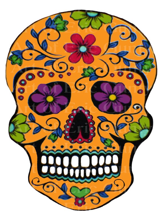 Orange Sugar Skull Halloween Birthday - Edible Cake and Cupcake Topper For Birthday's and Parties! - D22645