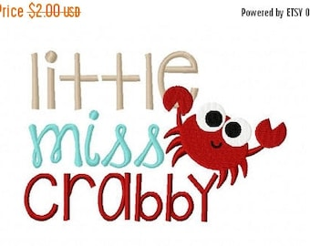 50% OFF - Little Miss Crabby Machine Embroidery Design Multiple Formats Available - Instant Download